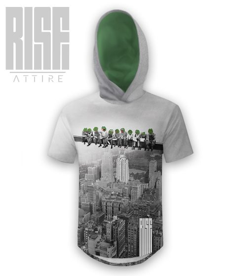 Pepes On A Skyscraper mens / unisex scoop cut hooded tee RISE ATTIRE
