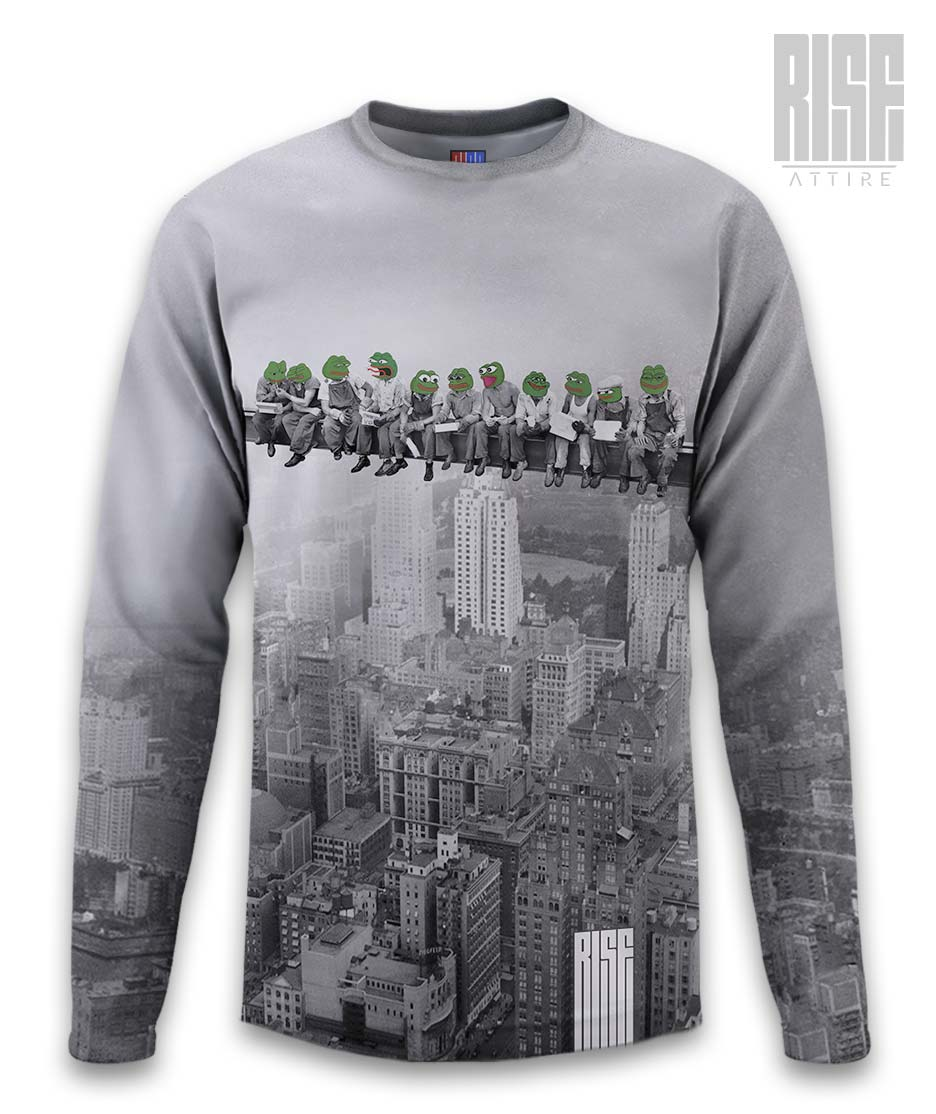 Pepes On A Skyscraper mens / unisex long sleeve tee / sweater RISE ATTIRE