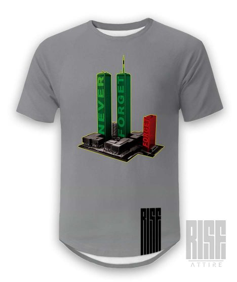 Never Forget Mens Scoop Cut Tee Rise Attire