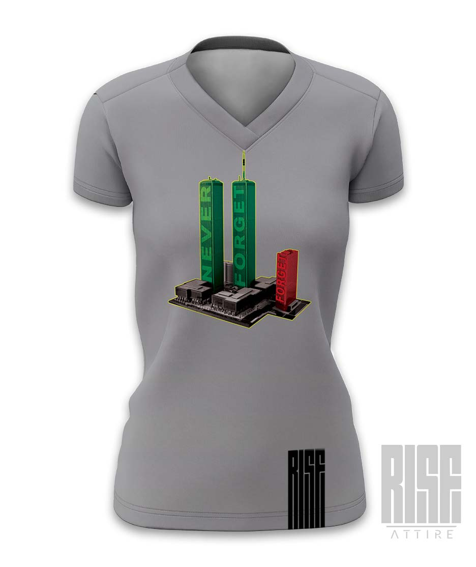Never Forget Women's V-Neck Tee Rise Attire