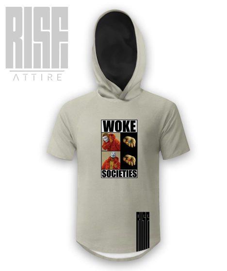 Woke Societies Gods Plan mens / unisex / hooded scoop tee / cream / RISE ATTIRE