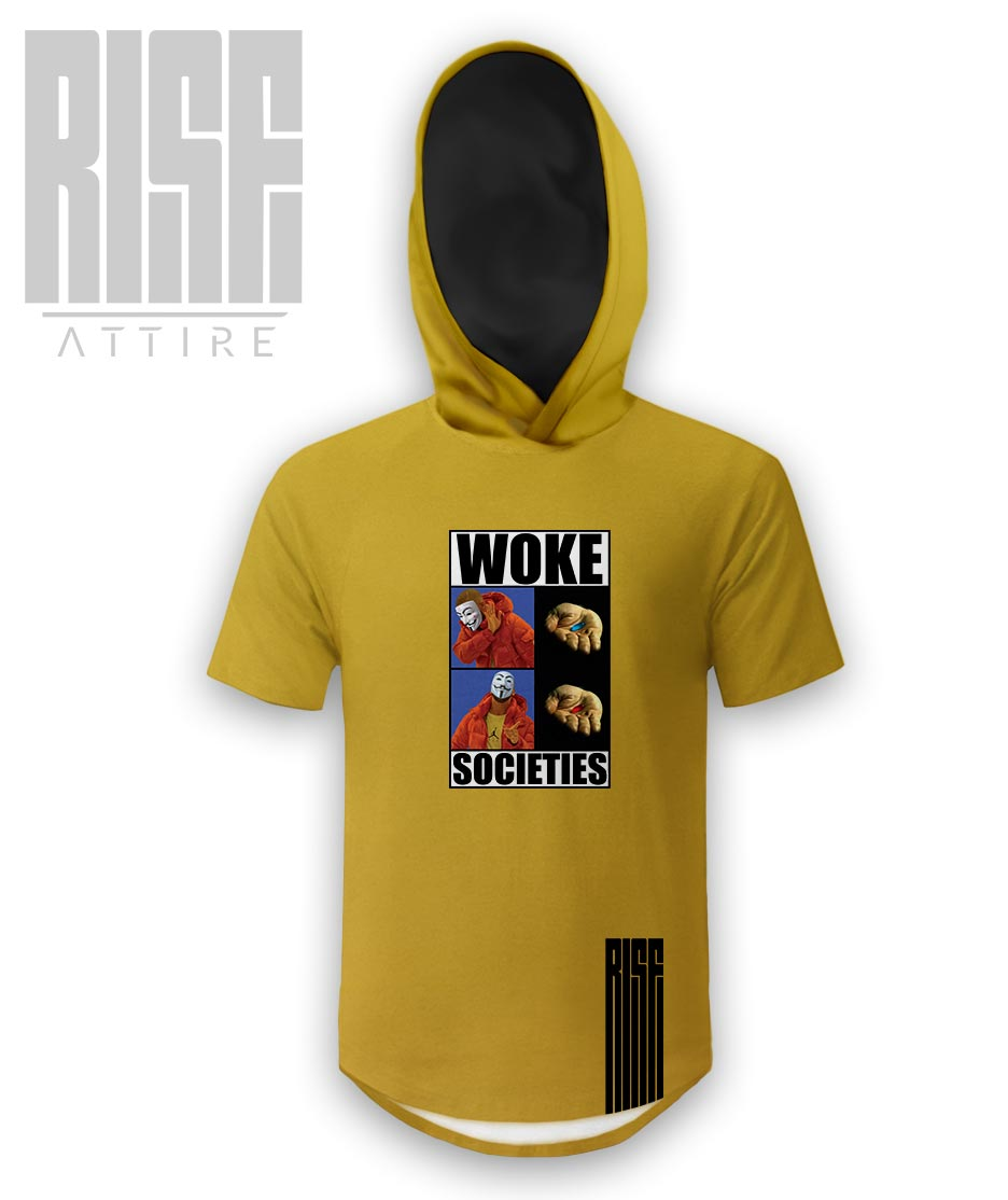 Woke Societies Gods Plan mens / unisex banana yellow hooded scoop tee RISE ATTIRE