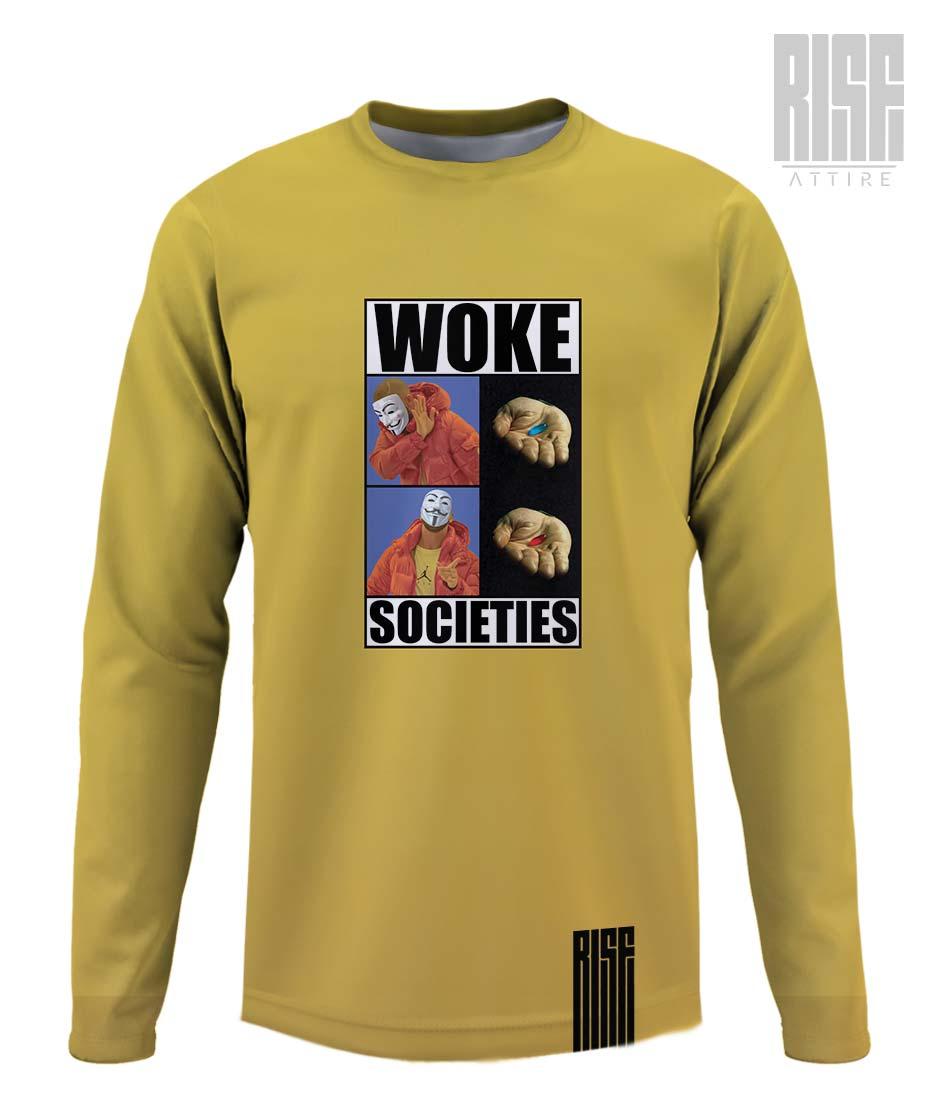 Woke Societies Gods Plan mens long sleeve tee / sweater banana yellow RISE ATTIRE