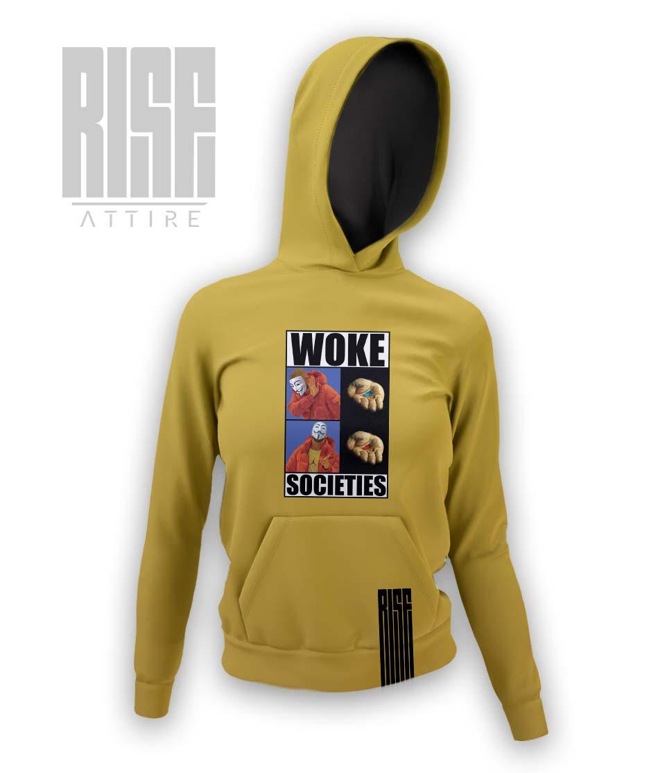 Woke Societies Gods Plan banana yellow womens pullover hoodie RISE ATTIRE