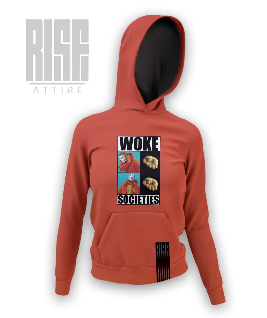 Woke Societies Gods Plan red womens pullover hoodie RISE ATTIRE