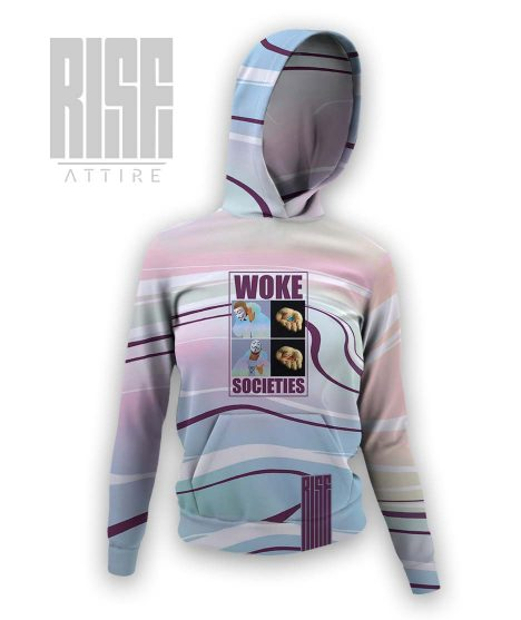 Woke Societies Gods Plan technicolor womens hoodie RISE ATTIRE