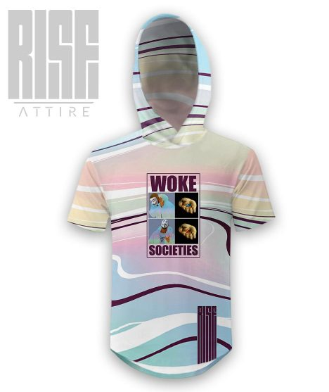 Woke Societies Gods Plan technicolor hooded scoop tee/ mens / unisex RISE ATTIRE