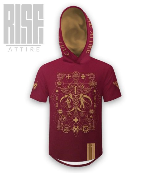 Cult of the Medics // Coat of Arms // Mens Unisex Hooded Scoop Tee // Ruby Red // RISE ATTIRE
