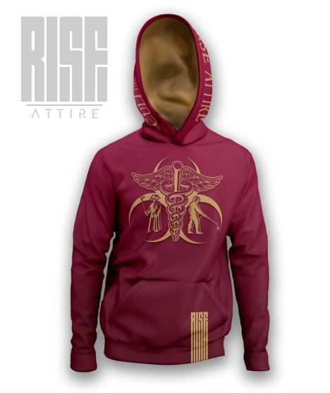 Cult of the Medics // Coat of Arms // Mens Unisex Pullover Hoodie // Ruby Red // RISE ATTIRE