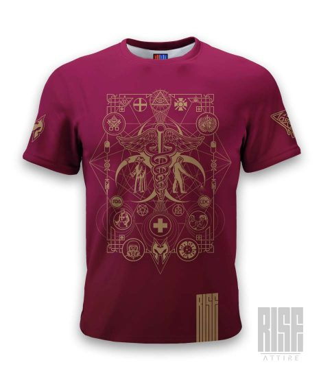 Cult of the Medics // Coat of Arms // Mens Unisex Tee // Ruby Red // RISE ATTIRE