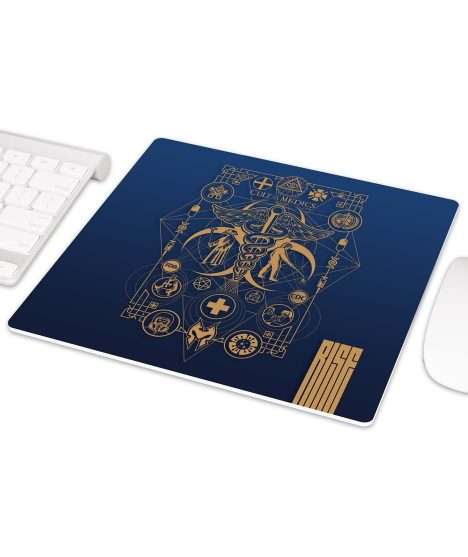 Cult of the Medics // Coat of Arms // Premium Mouse pad // Royal Blue // RISE ATTIRE