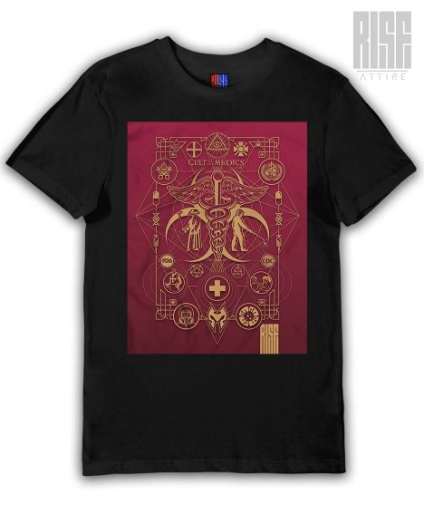 Cult of the Medics // Coat of Arms // Mens Unisex Cotton Panel Tee // Ruby Red // RISE ATTIRE