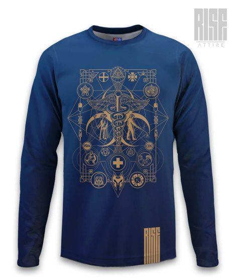 Cult of the Medics // Coat of Arms // Mens Unisex Longsleeve Tee / Sweater // Royal Blue // RISE ATTIRE