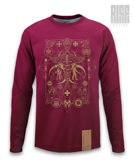 Cult of the Medics // Coat of Arms // Mens Unisex Longsleeve Tee / Sweater // Ruby Red // RISE ATTIRE