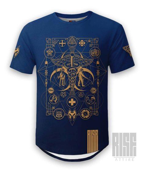 Cult of the Medics // Coat of Arms // Mens Unisex Scoop Cut Tee // Royal Blue // RISE ATTIRE