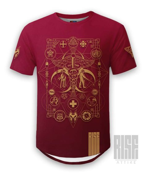 Cult of the Medics // Coat of Arms // Mens Unisex Scoop Cut Tee // Ruby Red // RISE ATTIRE